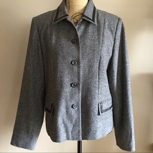 Pendleton Leather Trimmed Wool Tweed Blazer